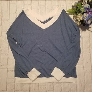 Blue Sweater M Colorblock V-neckline Pullover